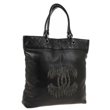 Vintage CHANEL Large CC Logo Monogram Chain Fringe Black Leather Shoulder Bag Tote Purse by MoonStoneVintageLA