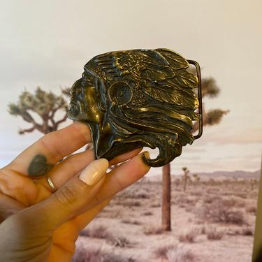 "Vintage Bronze 3""x 3"" Indian Head Belt Buckle by DesertCactusVintage"