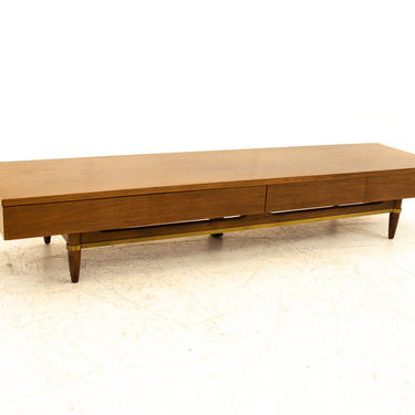 Merton Gershun for American of Martinsville Mid Century Long 3 Drawer Walnut & Brass Bench Coffee Table - mcm by ModernHill