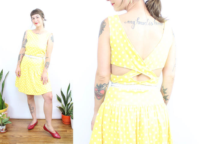 Vintage 80's yellow and white polka dot summer drop waist dress / 1980's open back criss cross mini dress / Women's Size Small by RubyThreadsVintage