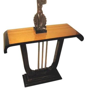 Amboyna and Macassar Console with metal Lyre