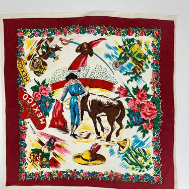 1940'S-50'S Old Mexico Tourist Scarf - Souvenir Scarf - Traditional Mexican Novelty Print - 28 Inches x 29 Inches by GabrielasVintage
