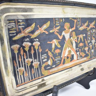 Vintage Egypt Scene Handmade Mixed Metals Tray or Wall Decor | Pre-strung Wall Hanging | Inlaid Metals Ancient Egypt Illustration Rectangle by LostandFoundHandwrks