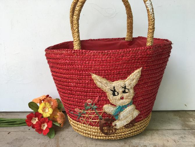 Vintage Child's Straw Purse With Rabbit On Bike, Woven Beach Tote With Red Plastic Lining, Small Beach Purse by luckduck