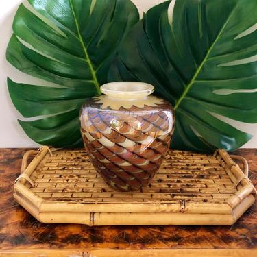 Fuller Modern Studio Art Glass Hand Blown Vase Iridescent by SeaweedSalvage