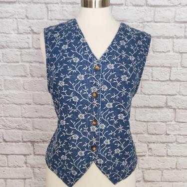 Vintage Denim Embroidered Vest //Button-up Blue and White SIZE LARGE by GemVintageMN