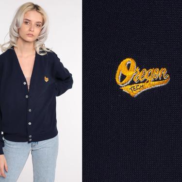 Oregon Tech Cardigan Varsity University Sweater Letterman Cardigan 80s Sweater Button Up Knit College Vintage Retro Medium by ShopExile