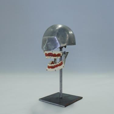 1930's Aluminum Dental Phantom with Gold and Silver Teeth Set