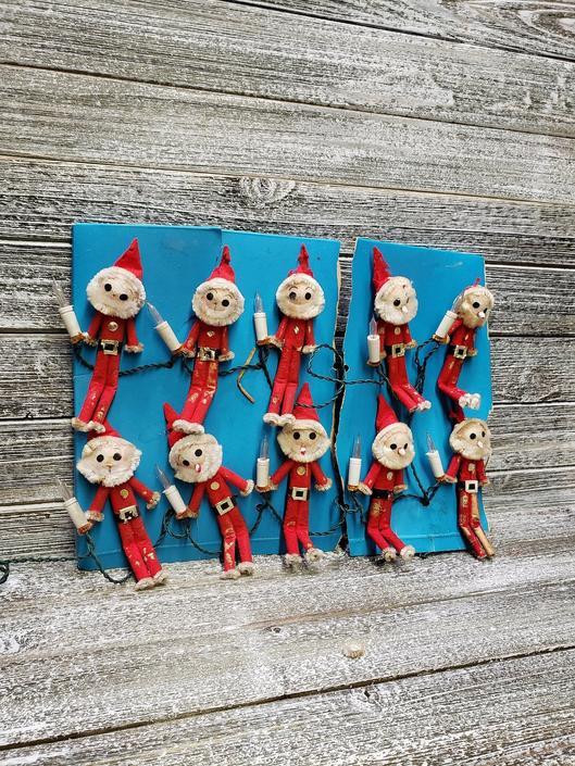 Vintage Santa Elf Lights, Antique Santa Claus String Lights, Mid Century Christmas, 10 Felt Santa Claus Tree Lights, Vintage Christmas by AGoGoVintage