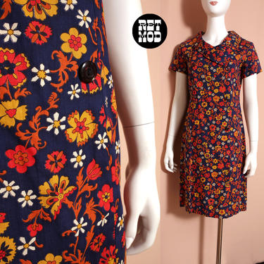 Cute Vintage 60s Dark Blue & Orange Floral Cotton Shift Dress with Cool Collar by RETMOD