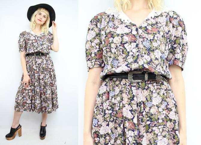 31ba83185d6 Vintage 90  39 s Dark Floral Midi Dress   1990  39 s does 1940  39 s ...
