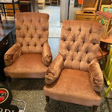 """Velvet tufted armchairs by Vanguard. 32"""" x 44"""" x 44"""" seat height 16"""""""
