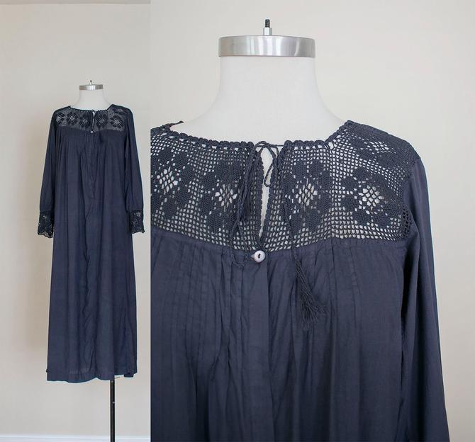 Edwardian Nightgown / Antique Under Dress / Antique Cotton Slip / Antique Night Gown / Hand Dyed Dress / Vintage Lace Cotton Underdress by milkandice