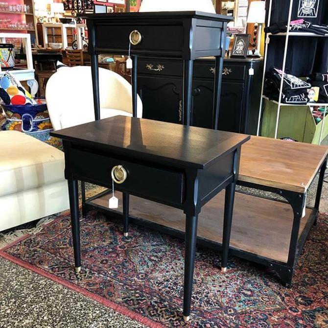 Fabulous black nightstands with brass hardware! $225 each!