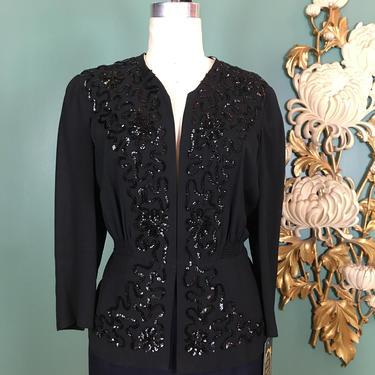 1940s blouse, black rayon crepe, sequin jacket, 40s beaded blouse, size large, vintage 40s jacket, holiday blouse, evening jacket, 40 bust by BlackLabelVintageWA