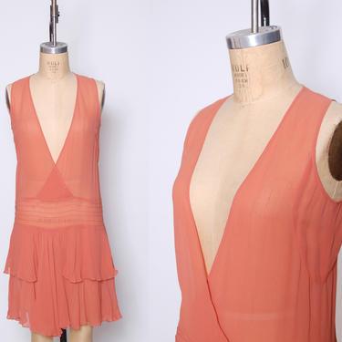 1920s sheer silk chiffon dress / coral tiered flapper dress / drop waist sleeveless dress / 1920s ruffle dress / Roaring Twenties dress by ProspectVintageGoods