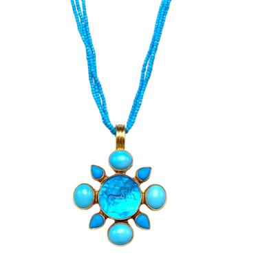 Turquoise Mosaic Pendant Necklace