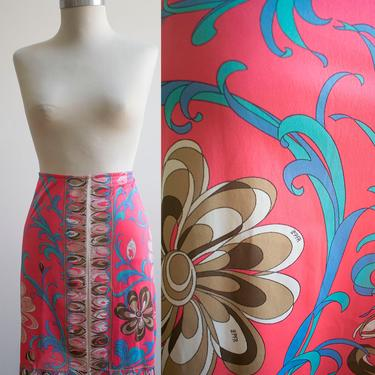 Pink Vintage 1960s Emilio Pucci Half Slip / Psychedelic Print Skirt / 60s Psychedelic Emilio Pucci Half Slip / 60s Mini Skirt Slip by milkandice