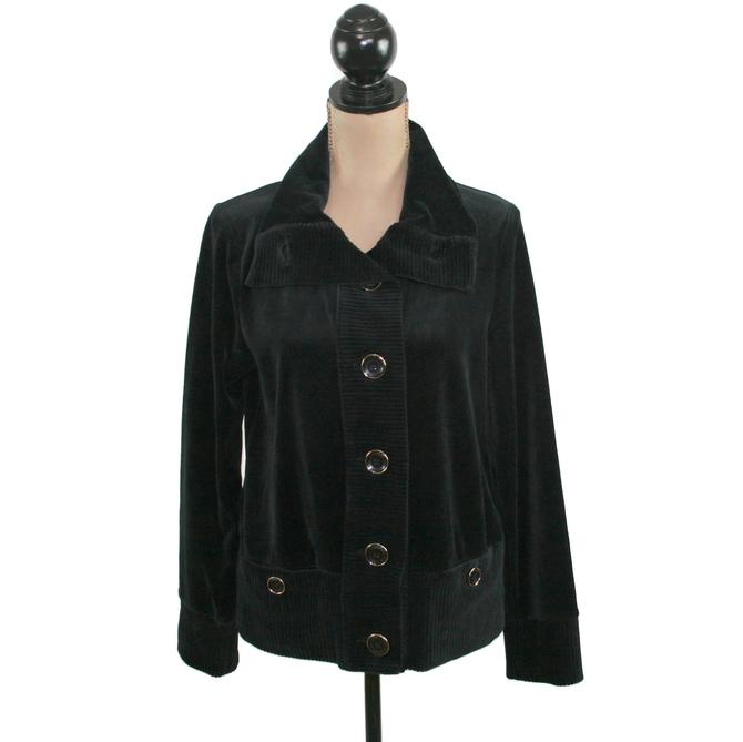 Y2K Jacket Women Medium, Ribbed Velvet Black Velour Cozy High Neck Button Up, Winter Casual Clothes, 2000s Vintage Clothing, Jones New York by MagpieandOtis