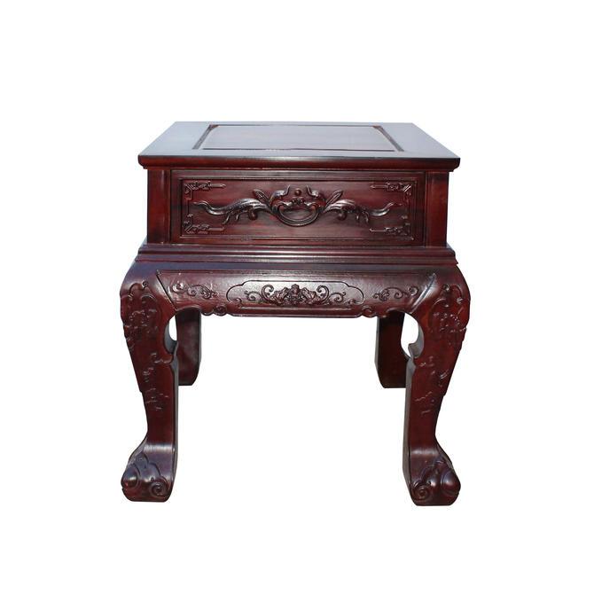 Chinese Oriental Suan Zhi Rosewood Foo Dogs Motif Tea Table Stand cs4536E by GoldenLotusAntiques