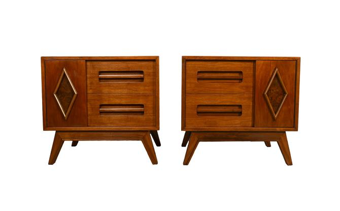 Walnut Nightstands Mid Century Modern Pair of Nightstands by HearthsideHome