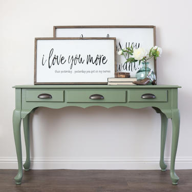 Sage Green Sofa Table - Farmhouse Decor - Entry Table with Drawer - Rustic Furniture  - Painted Furniture - Hallway table - Console Table by ARayofSunlight