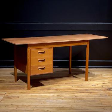 Refinished Danish Modern Teak Slide Top Drop Leaf Desk attr. Arne Vodder - Mid Century Modern Furniture by MidMod414