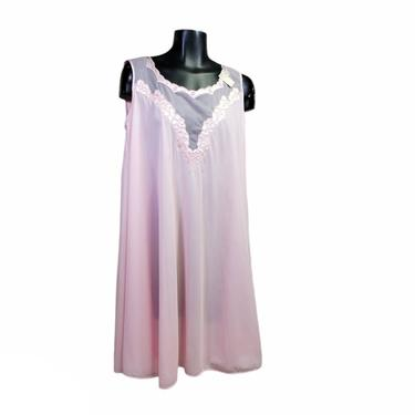 1970s Vintage Nightgown, NEW w/ TAGS, Powder Pink, Sheer & Floral Applique, Pinup Night Dress Intimates, Nightie, DEADSTOCK Vintage Clothing by AGoGoVintage