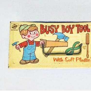 Busy Boy Tool Chest | Vintage | Ohio Art Tin Litho | Nursery Decor | Children's Tool Box | 1960s | Pencil Case | Collectible | Toy Box by PiccadillyPrairie