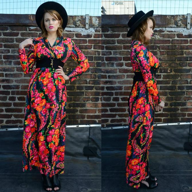 Vintage 70s Neon Floral Maxi Dress by SpeakVintageDC