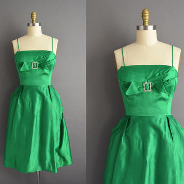 vintage 1950s | Gorgeous Satin Kelly Green Cocktail Party Bridesmaid Wedding Dress | Small | 50s dress by simplicityisbliss
