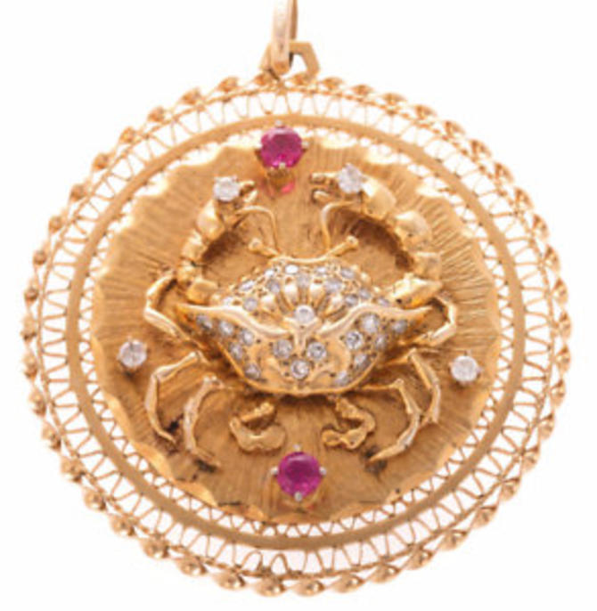 Vintage 14k Gold Cancer Crab Zodiac Sign Pendent Featuring Diamonds and Rubies by LazyCamel