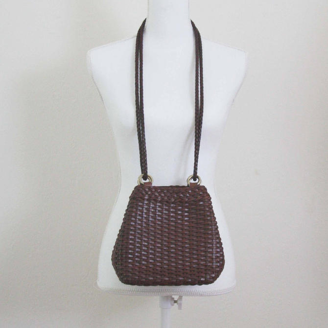 36b3ded048e0 Vintage Brown Woven leather Crossbody shoulder bag - COLE HAAN– Made in  Italy –