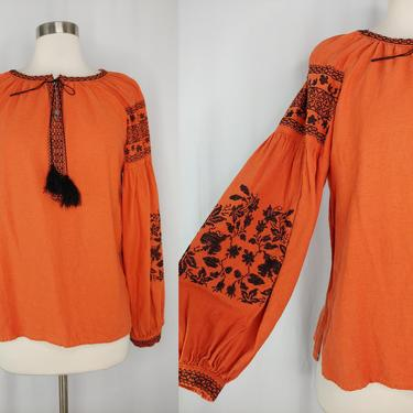 Vintage Seventies Orange Embroidered Peasant Blouse - 70s Long Sleeve Bohemian Hippie Top - Small Embroidered Long Sleeve Peasant Blouse by JanetandJaneVintage