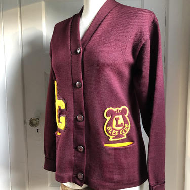1960s Glee Club Varsity Letterman Cardigan Sweater 100% Wool- size med by VeeVintageShop