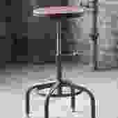 Industrial Stool Walnut Adjustable Drill Press Stool bar stools by CamposIronWorks