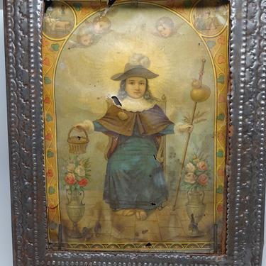 Antique Large Tin Nicho Icon with Infant of Prague, Mexican Folk Art, El Santo Nino de Atocha, Vintage Religious Folk Art Retablo by exploremag