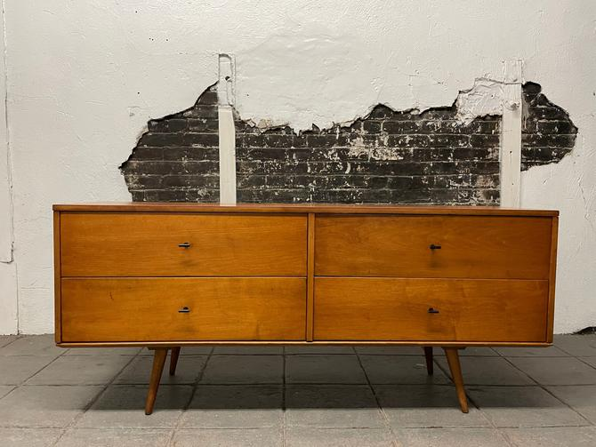 """Paul mccobb mid century modern blonde lacquer finish credenza sideboard dresser maple 4 drawer T pulls original tapered legs 60"""" by symmetrymodern"""
