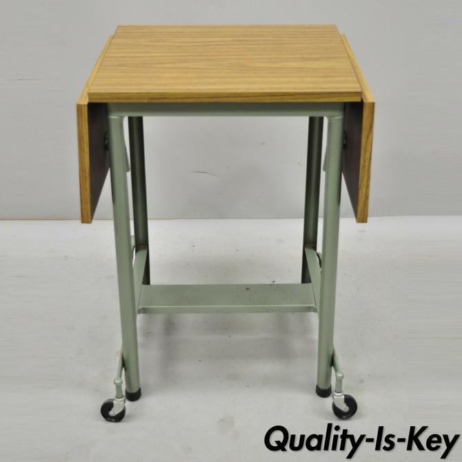 Vintage Hi Lo Metal Stand Industrial Modern Metal Typewriter Table Work Stand