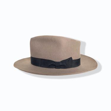 Vintage 1950s BORSALINO Fedora ~ size 7 1/8 to 7 1/4 ~ Raw Edge ~ Fur Felt Hat by SparrowsAndWolves