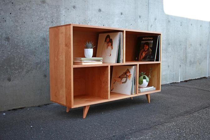 "Couzens Vinyl LP Console, 45""W, Bookshelf, Turntable Console, Mid-Century Vinyl Storage (Shown in Cherry) by TomfooleryWood"