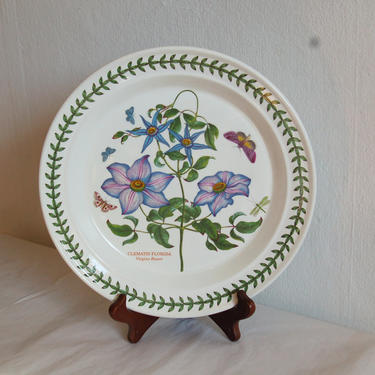 "Vtg Portmeirion Botanic Garden, Susan Williams-Ellis, Blue Passion Flower, 10.25"" Dinner Plate ~ Made in Britain ~ Excellent Condition by YesterdayAndTomorrow"