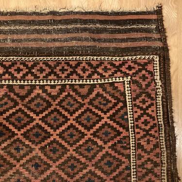 Antique Rug 3' 5 x 5' 8 Brown Baluch Oriental Rug by JessiesOrientalRugs