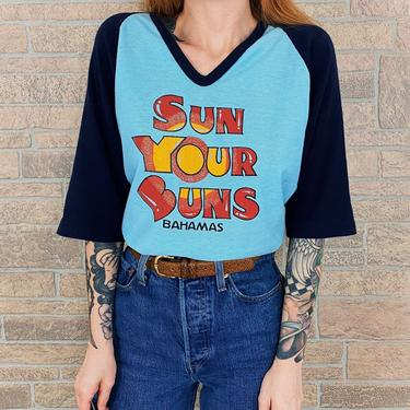70's Sun Your Buns Bahamas Raglan Tee T-Shirt by NoteworthyGarments
