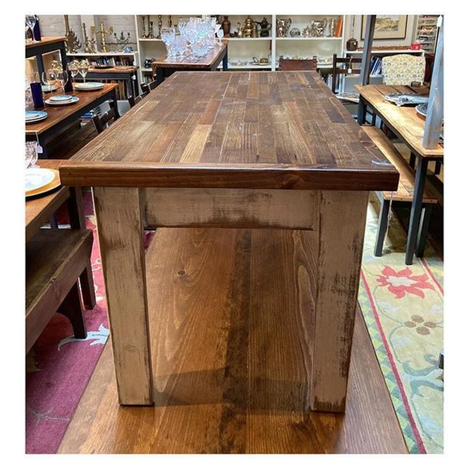 """Thick top Shenandoah pine coffee table with white brush painted legs 40"""" long / 19.2"""" deep / 19"""" height"""