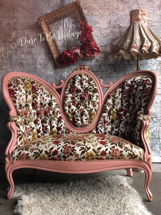 Beautiful Vintage Floral Camel Back Settee Couch - Vintage Victorian Loveseat - Floral Settee Loveseat by DareToBeVintage
