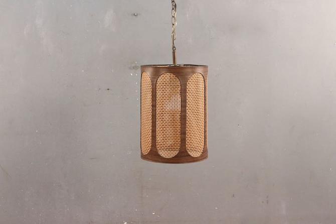 Mid Century Cane Lantern Swag Lamp
