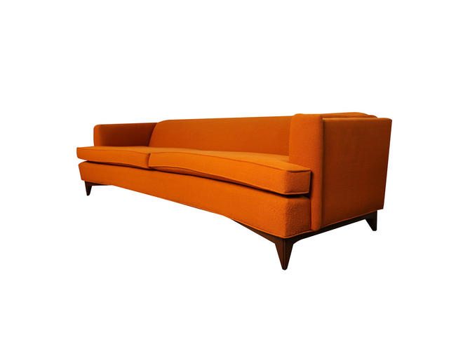Mid Century Modern Orange Upholstered  curved  Sofa by Marykaysfurniture