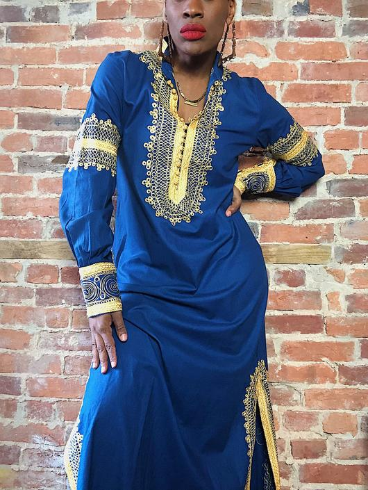 Vintage 1960s 1970s EMBROIDERED Dress Gold Embroidery Tunic Blue Cotton Blue Kaftan Moroccan Long Maxi Bohemian Hippie Gypsy 60s 70s vtg S-M by KeepersVintage