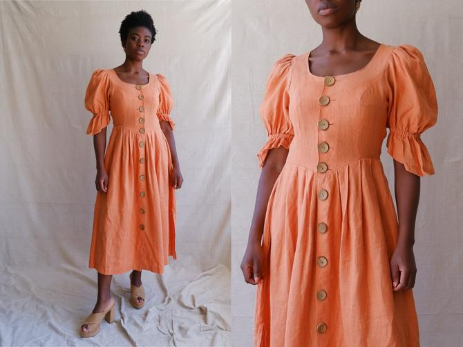 Vintage Peach Linen Puff Sleeve Dress with Wooden Button/Prairie Dress/ Size Medium by bottleofbread